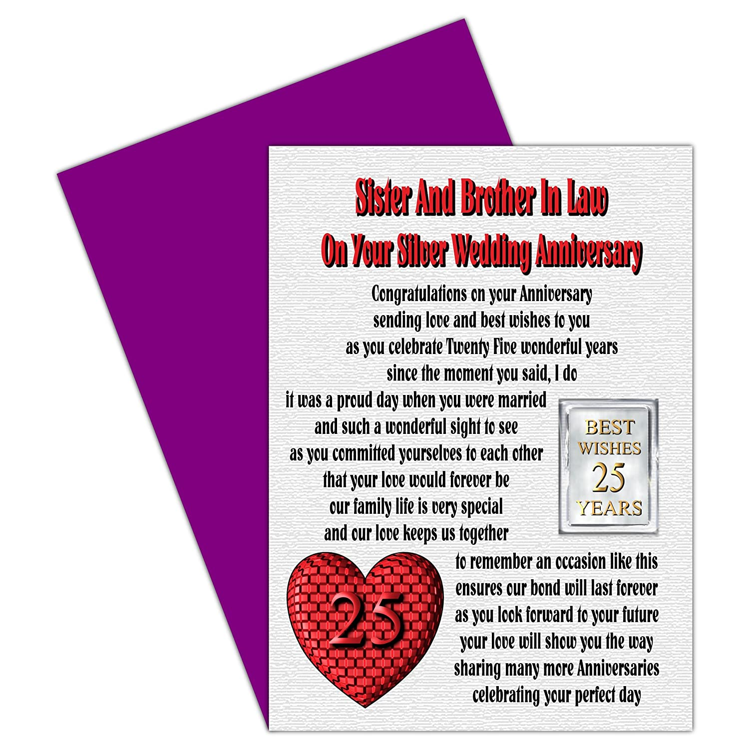 Sister Brother In Law 25th Wedding Anniversary Card With Removable
