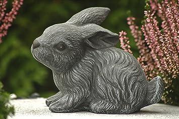 Gartenfigur Steinguss Tierfigur Basaltgrau Steinfigur Hase Zwergkaninchen 193//1