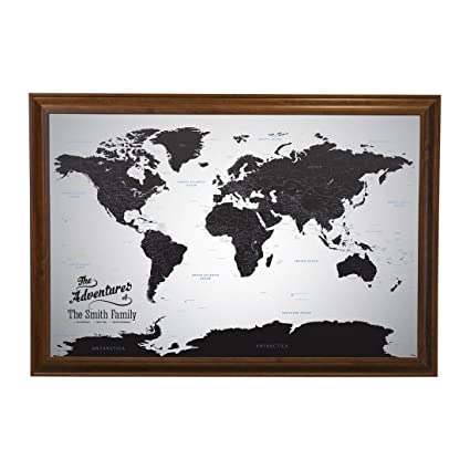 Push Pin Travel Maps Canvas - Personalized Black Ice World with Brown Frame