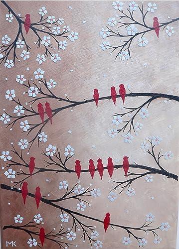 Amazon Com Mosaic Wall Art Original Handmade Painting 14 X 8 Birds