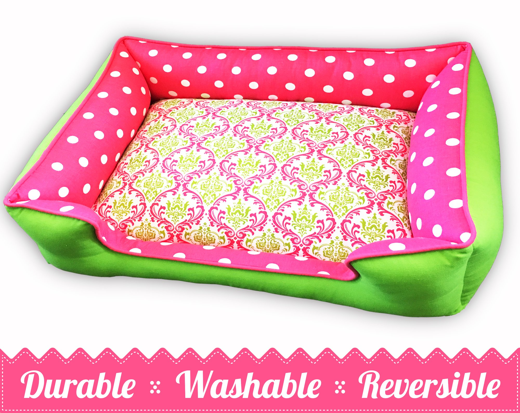 Pink & Chartreuse Pet Be | Ultimate in Comfort & Design | Bed is Reversible & Washable with a removable cover | Durable | Cat or Dog Bed | Quality Pet Bed | Dog Bed | Cat Bed