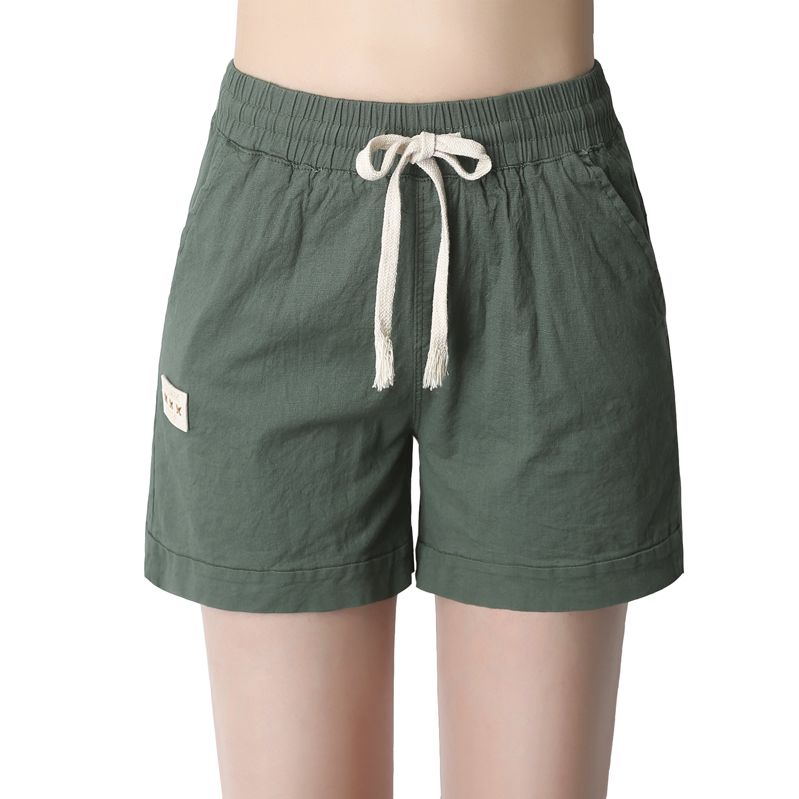 Neasyth Women's Casual Stretch Solid Waist Cute Cotton Linen Drawstring Athletic Comfy Shorts (Army Green, L)