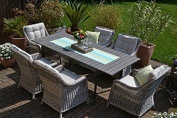 Bomey Rattan Lounge Set I Gartenmöbel Set Como 6 Teilig I Essgarnitur Mit Polstern I Sitzgruppe Grau Tisch Ausziehbar Polster Graubeige I Dining