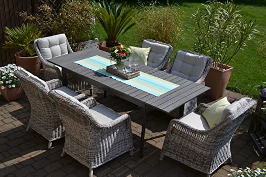 Juego de 6 muebles de jardín de Como, mesa extensible de madera con 6 asientos de mimbre sintético trenzado: Amazon.es: Jardín