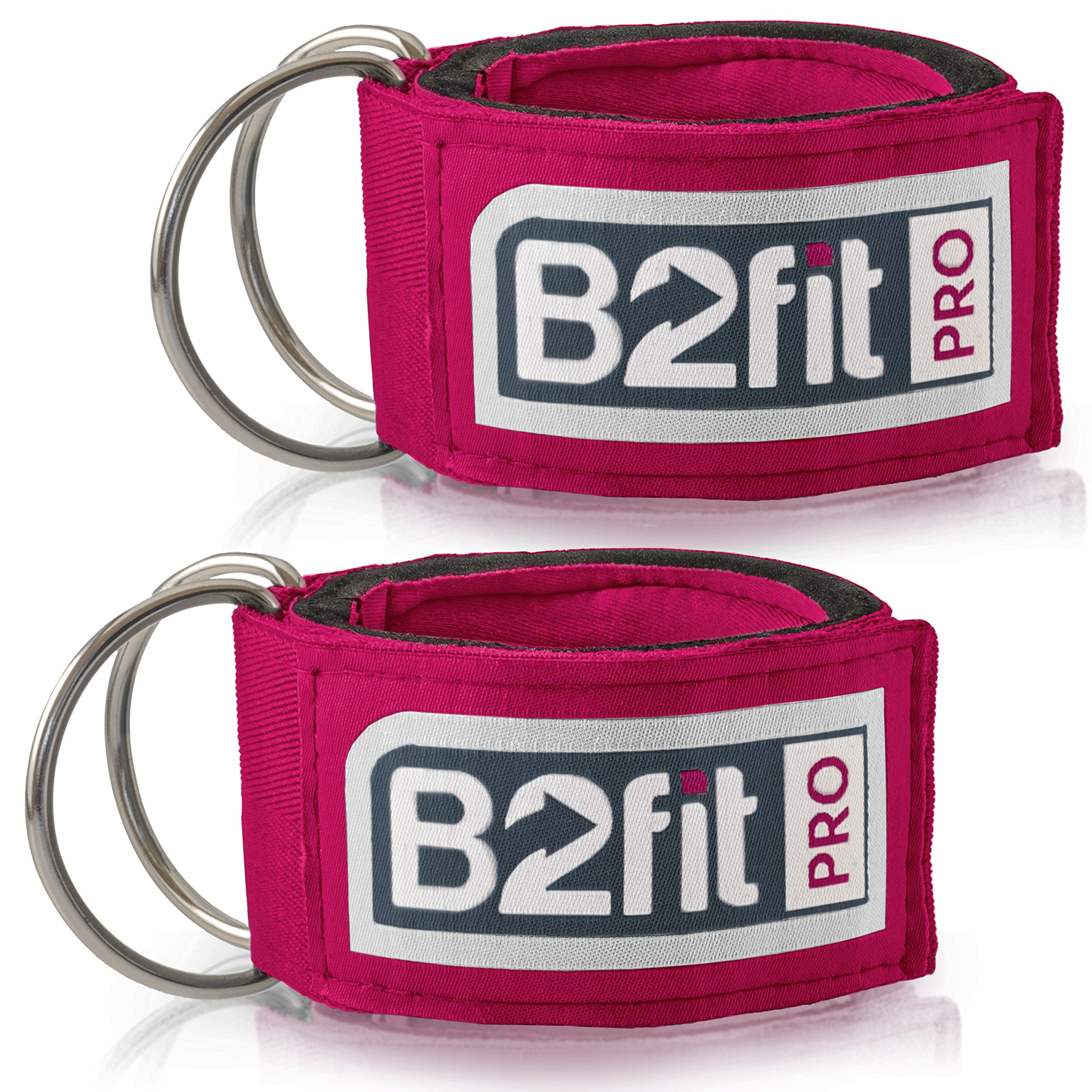 Ankle Straps for Cable Machines by B2FIT PRO – Premium Padded Double D-Ring Ankle Cuffs for Gym Workouts – Fitness…