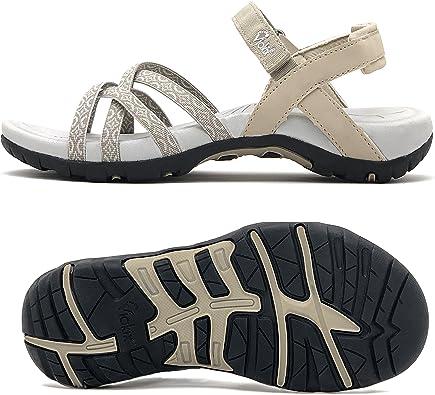 Amazon.com | Viakix Walking Sandals Women- Athletic Sport Sandals for  Hiking Beige | Sport Sandals & Slides