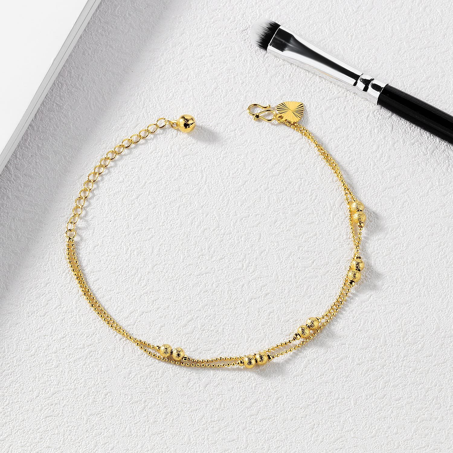 MONIYA Double-Layer Gold Plated Chain Beads Anklet for Women Girl Adjustable Ankle Bracelet Beach Jewelry