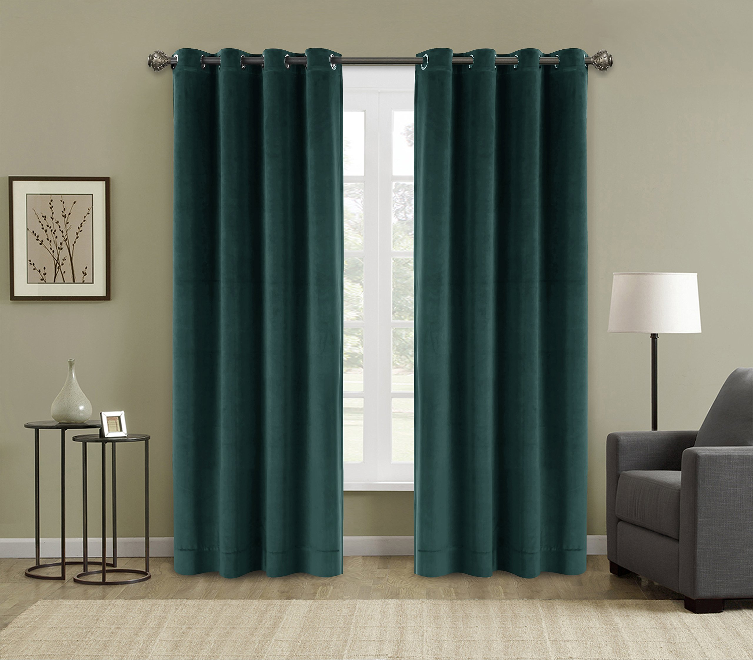 FirstHomer Solid Heavy Velvet Curtain Drape Panel Blackout Super Soft Handfeel Luxury Nickle Grommet Everglade Teal 50W By 63L Inch (Set of 2 Panels)Collection Theater| Bedroom| Living Room| Hotel