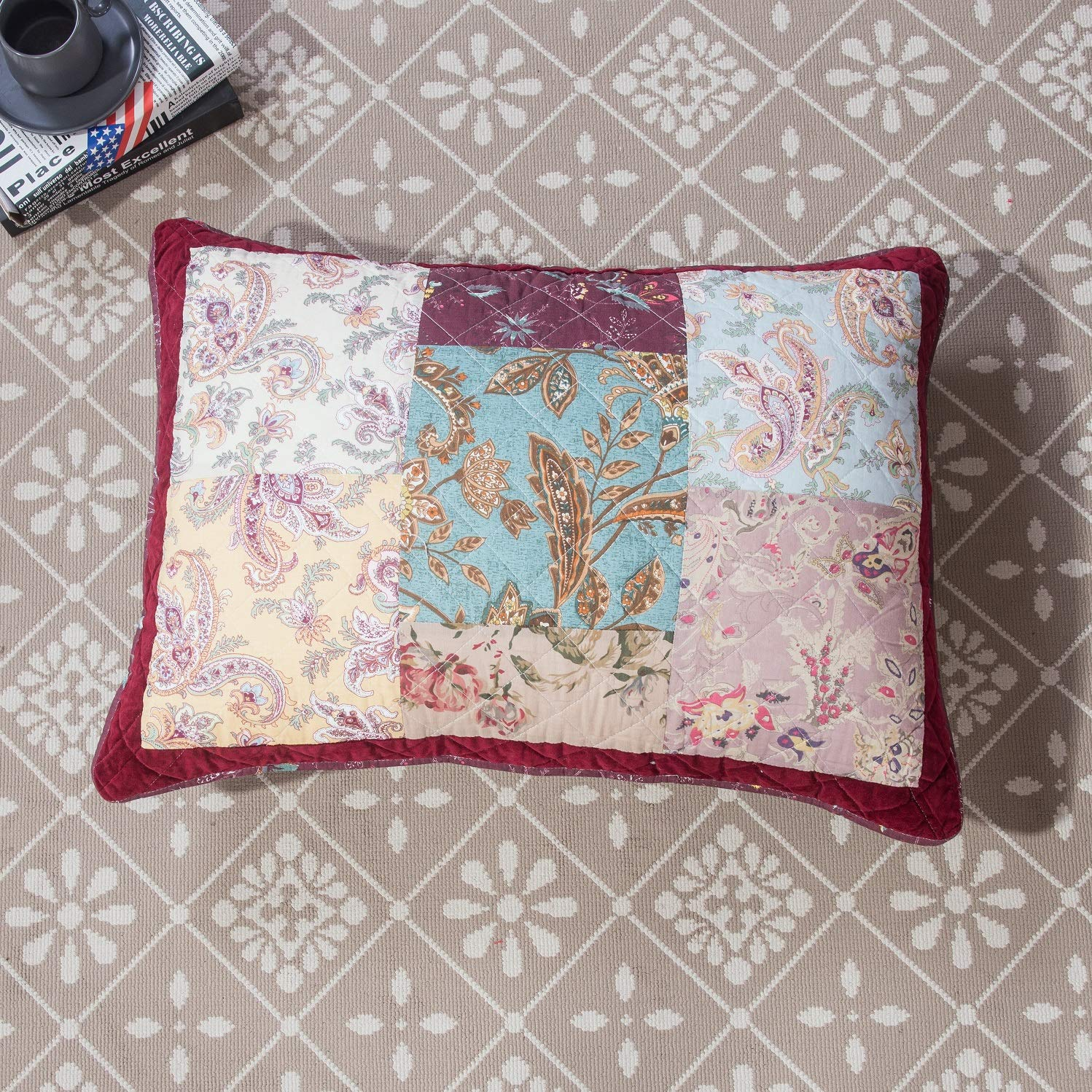 DaDa Bedding Bohemian Patchwork Bedspread - Burgundy Wine Velvety Trim - Vintage Floral Roses Paisley - Bright Vibrant Multi-Colorful Quilted Set - Queen - 3-Pieces by DaDa Bedding Collection (Image #7)