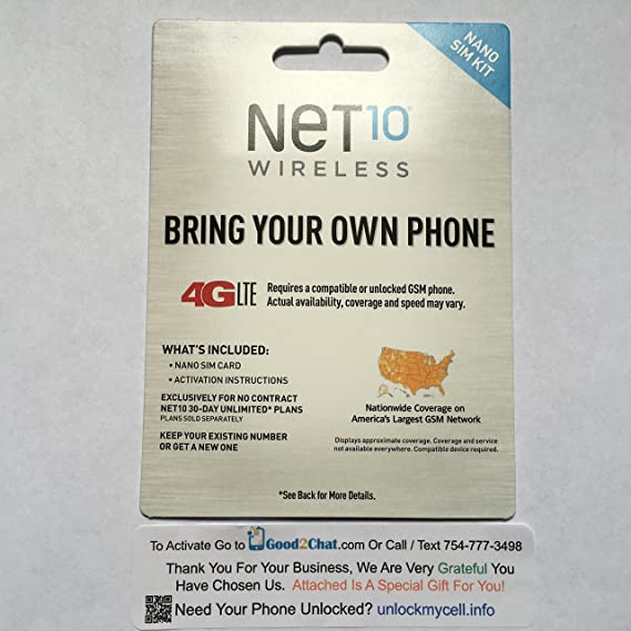 Amazon.com: Net 10 4 g lte Kit para tarjeta nano sim: phickey64