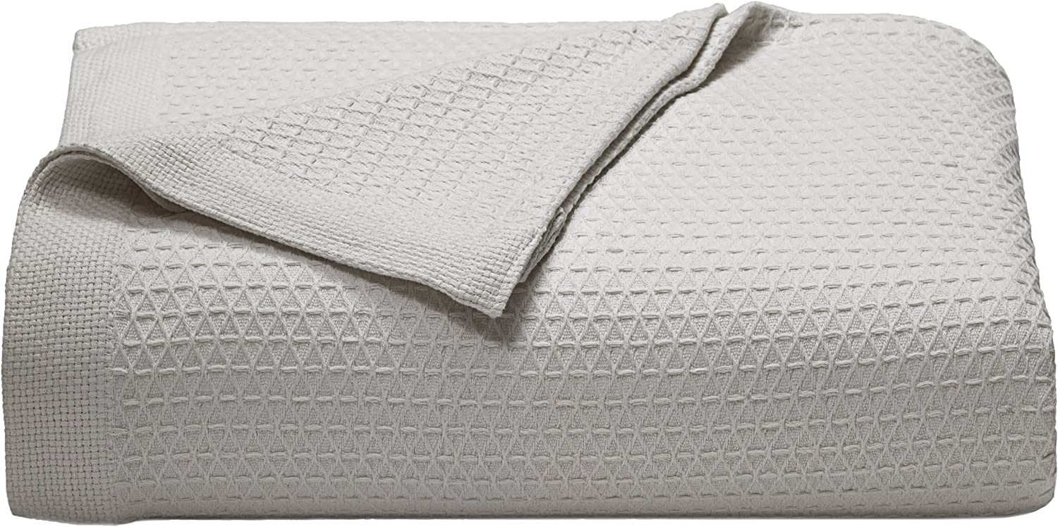Nautica Home | Baird Collection | 100% Cotton Signature Diamond Weave Pattern Cozy Blanket, Soft and Durable for All Seasons, Easy Care Machine Washable, King, Grey