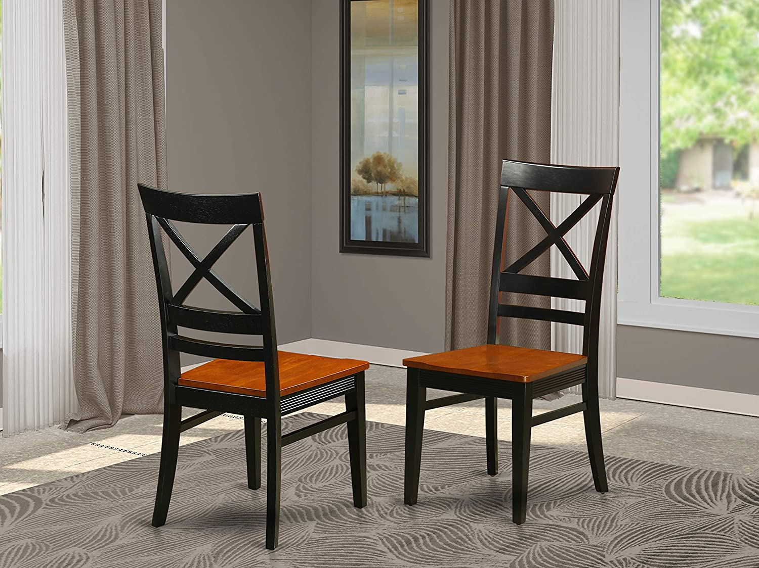 Quincy Dining Dining room Chair With X-Back in Black & Cherry Finish