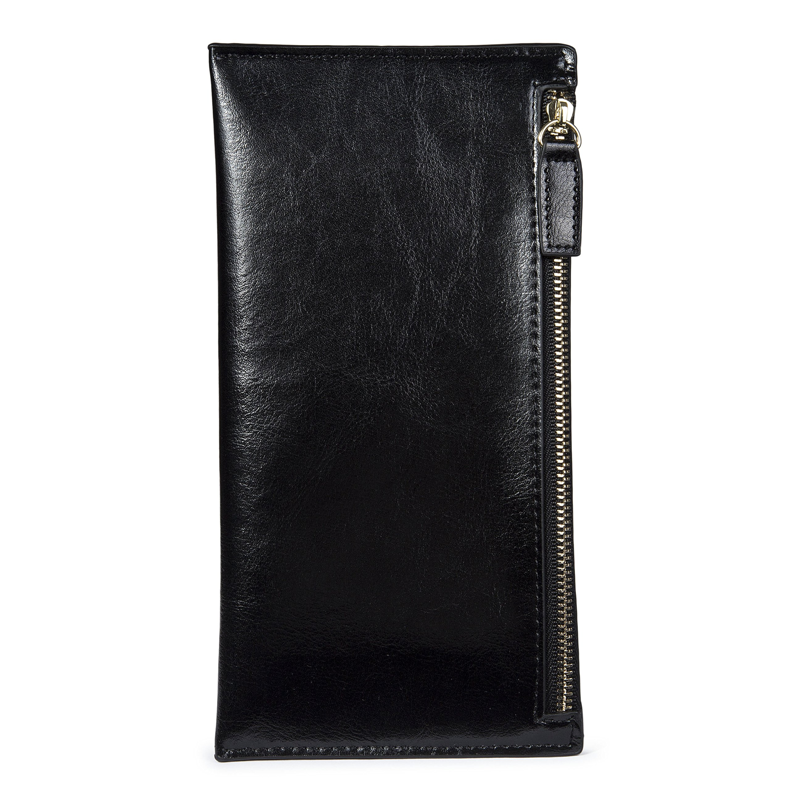 Leather Long Wallet Zipper Clutch Coin Purse Slim Card Case Holder for Women with 8 Card Slots Black