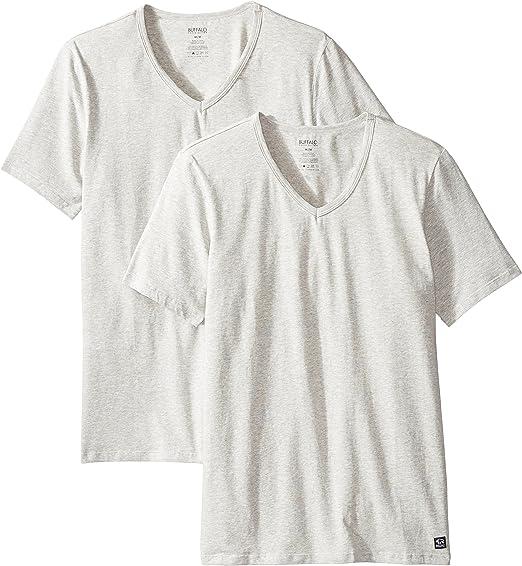 3 Buffalo David Bitton T-Shirts LARGE Cotton Stretch V-Neck Tag-Less White