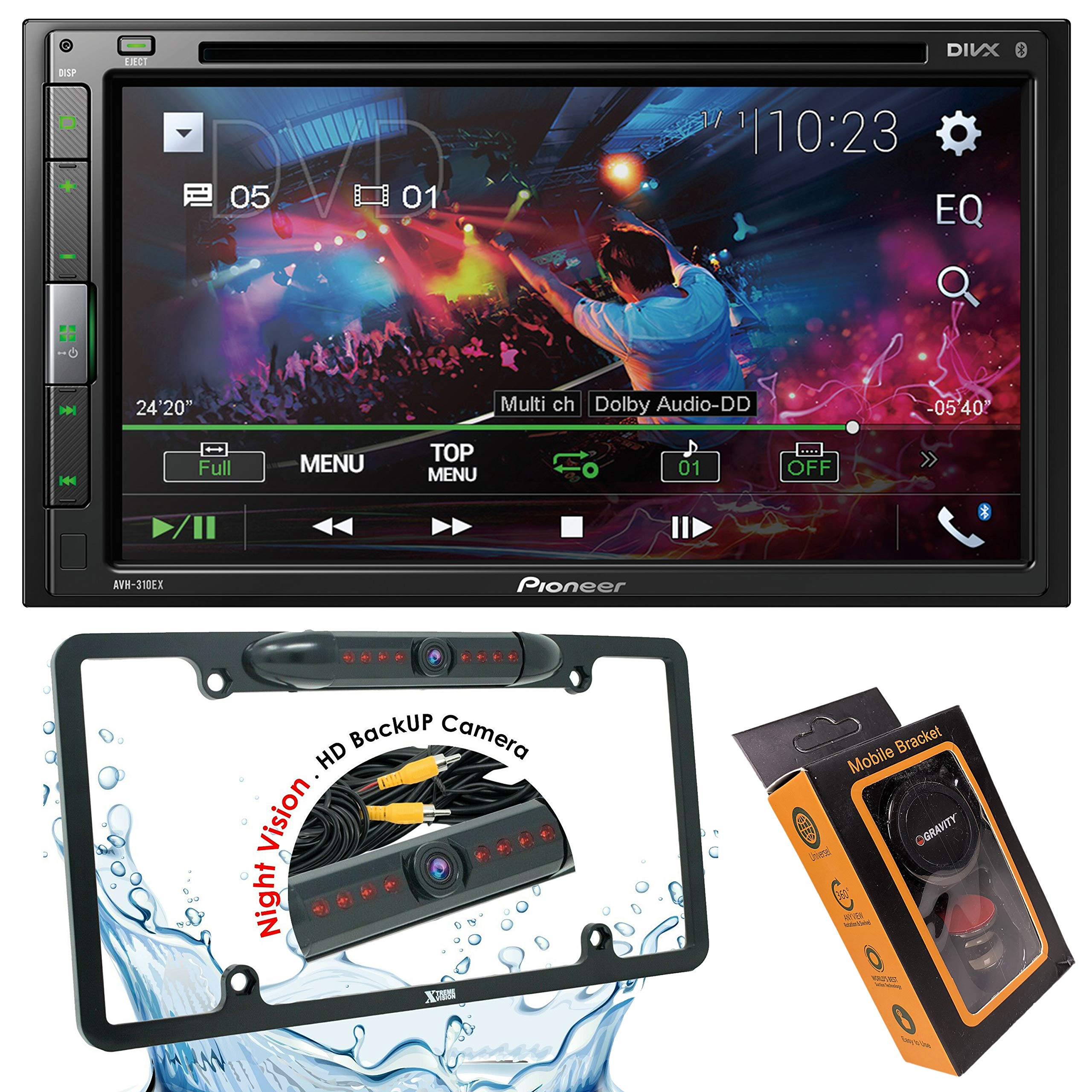 Pioneer AVH-310EX Double-Din 6.8-Inch in-Dash Car DVD Receiver with Built-in Bluetooth + License Backup Camera Included + Gravity Magnet Phone Holder by PIONEER