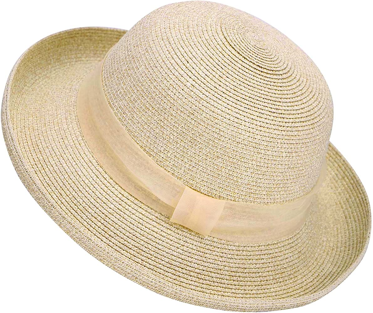 Cyiecw Womens Sun Straw Hat Big Brim Hat Bowknot Summer Hat Foldable Roll up Floppy Sunhat Beach for Women