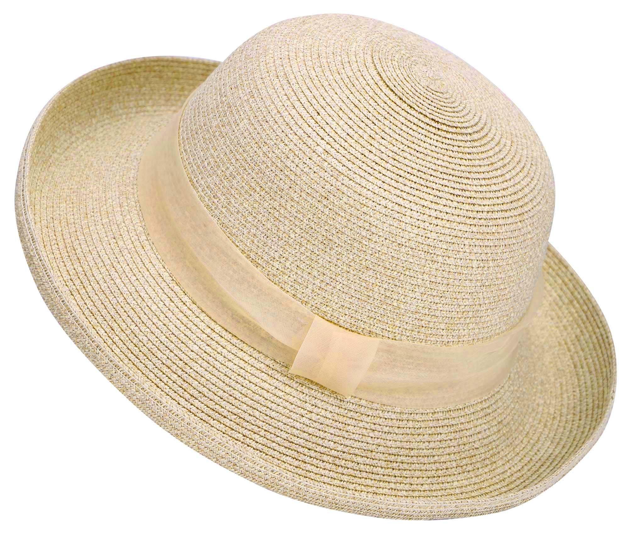 Lullaby Womens Foldable UPF 50+ Wide Brim Bucket Straw Sun Hat Mix Beige