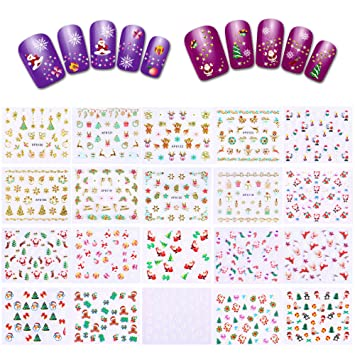 Amazon Com 700 Designs Christmas Nail Decals 20 Sheets Konsait
