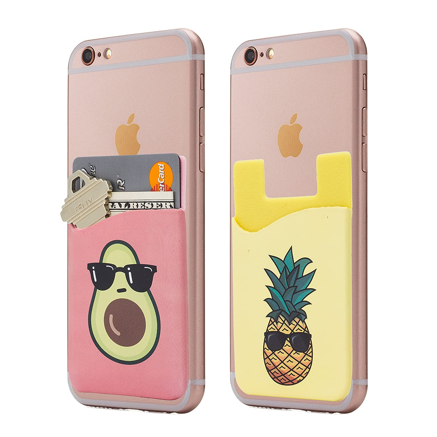 (Two) Avocado and Pineapple Cell Phone Stick on Wallet Card Holder Phone Pocket for iPhone, Android and All Smartphones. Cardly