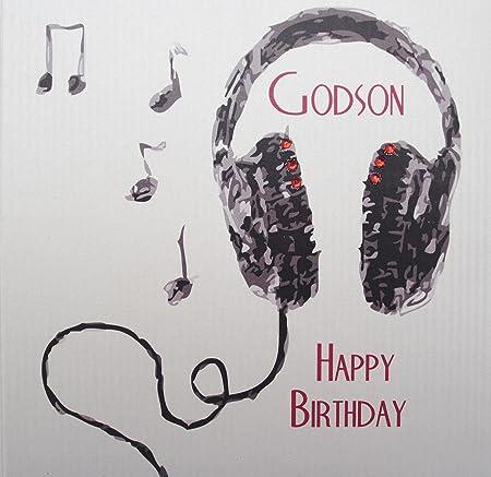WHITE COTTON CARDS Handmade Godson Happy Birthday Headphones Boys Card White