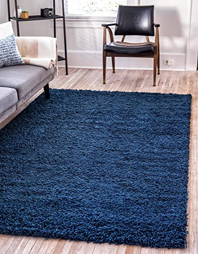 Unique Loom Solo Solid Shag Collection Modern Plush Navy Blue Square Rug 8 2 x 8 2