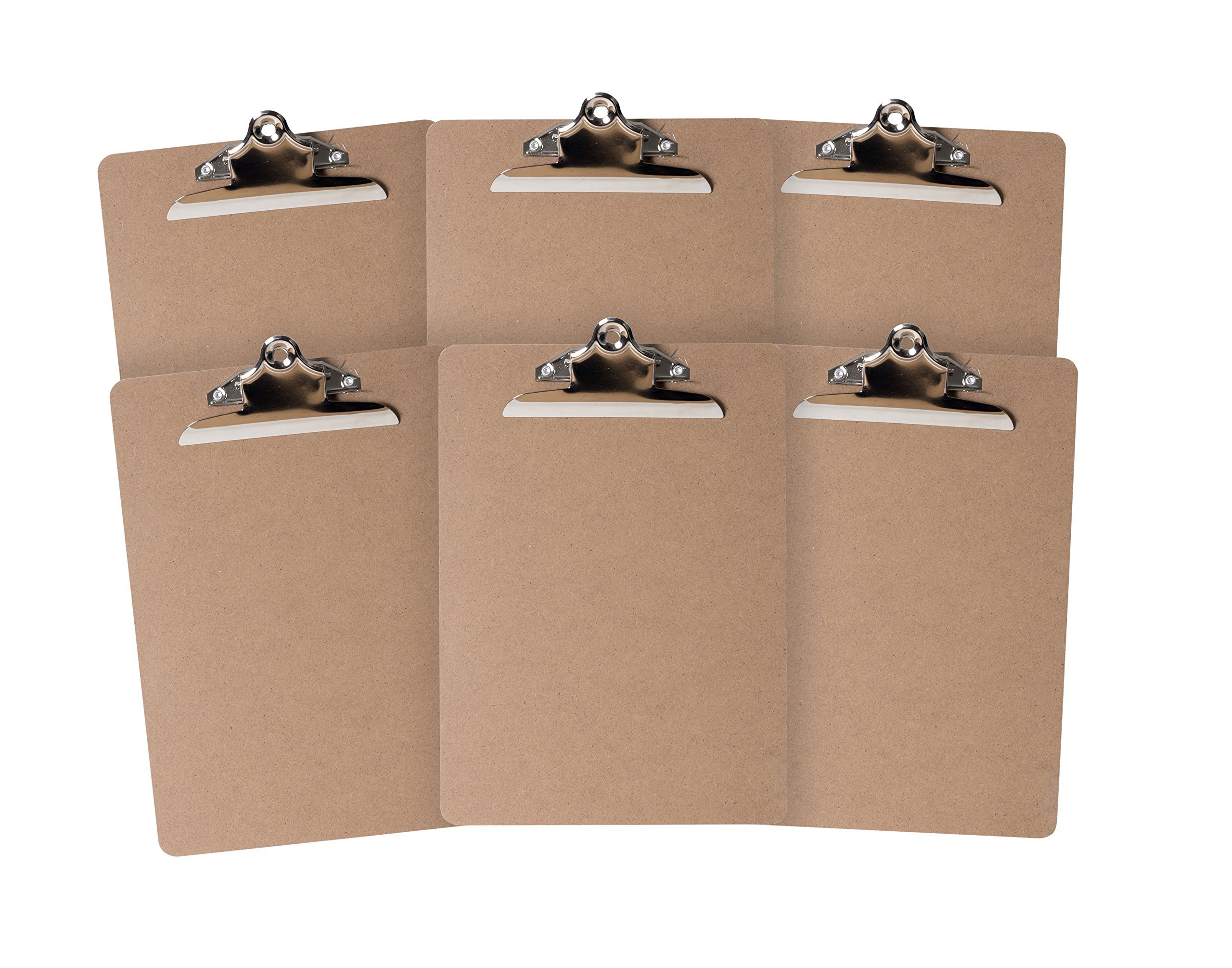 6 Hardboard Clipboards, Heavy Duty Clip, Design for classroom and office use, 6 Clipboards