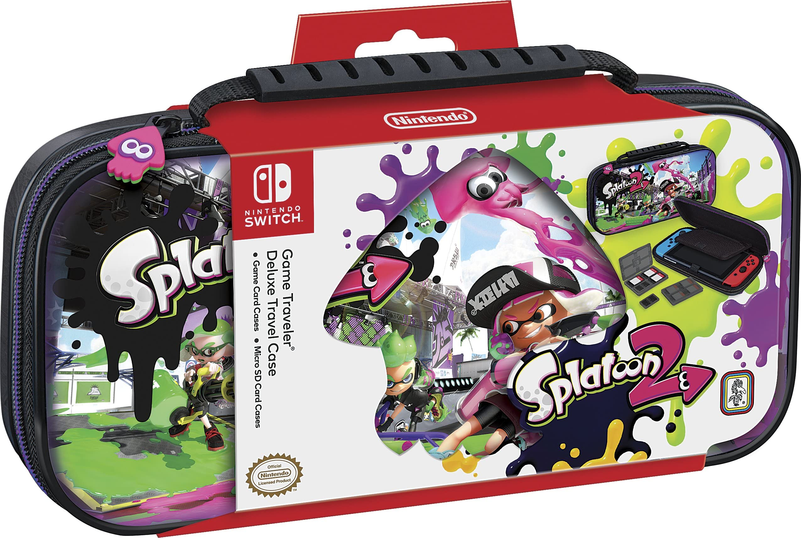 Nintendo Switch Deluxe Splatoon 2 Travel Case, Premium Hard Case Made With Pu Leather, Original Splatoon Art. Secure Fit For Switch, Designed To Protect Switch's Analog Sticks, Plus 2 Multi Game Cases by Rds Industries, Inc