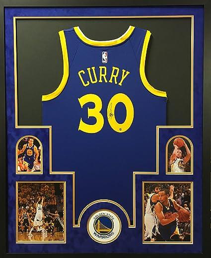 38b56666e8b Stephen Curry Golden State Warriors Autograph Signed Custom Framed Blue  Swingman Jersey Suede Mat Steiner Sports