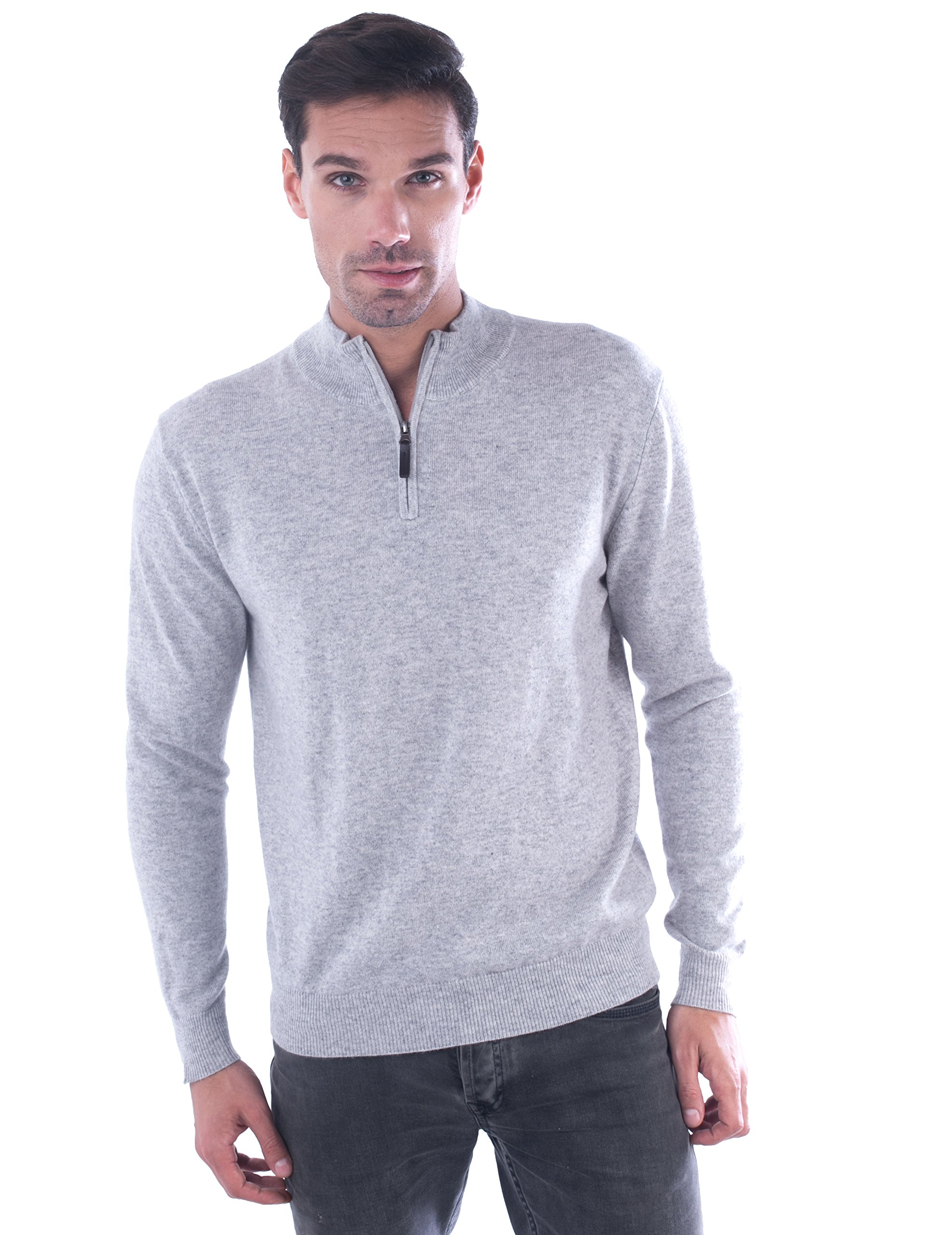 cashmere 4 U Men's 100% Cashmere Sweater Zipped Collar Pullover With Elbow Patch