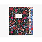 Rifle Paper Co. Wild Rose Stitched Notebook Set, Set Of 3 Notebooks, 64 Ruled Pages With Gold Ink, Canvas Paper Cover…