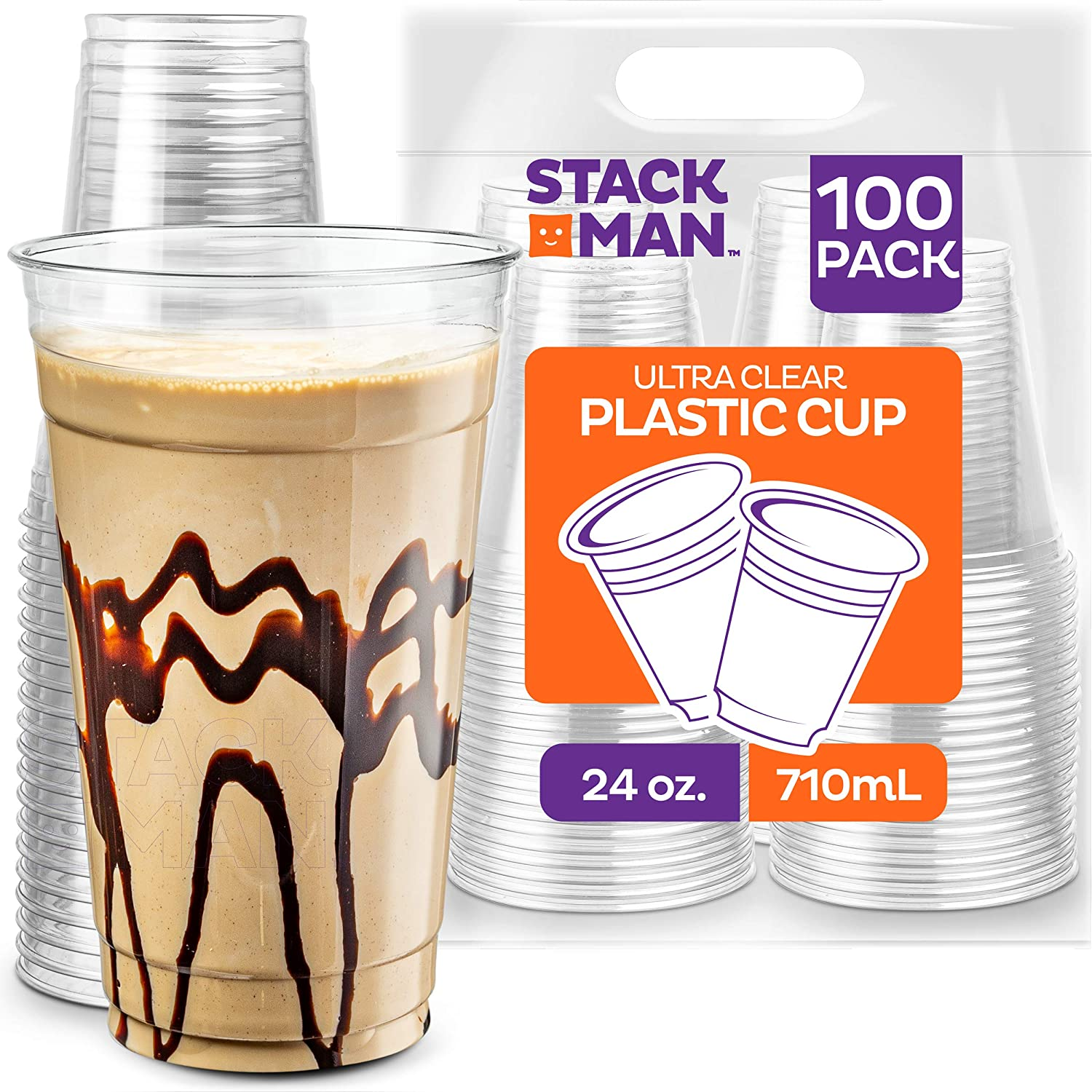 Stack Man [100 Pack - 24 oz.] Clear Disposable Plastic Cups PET Crystal Clear Disposable 24oz Plastic Cups