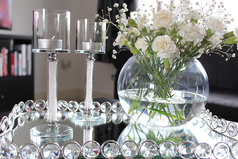 Hcaa - Bougeoirs avec cristaux de Swarovski, en forme de tige, lot de 2, pour un dîner pour un dîner