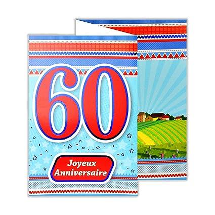 afie 882138 B tarjeta 3 Volets cumpleaños 60 años: Amazon.es ...