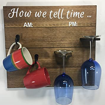 Wooden Coffeewine Glass Rack How We Tell Time Antique Walnut