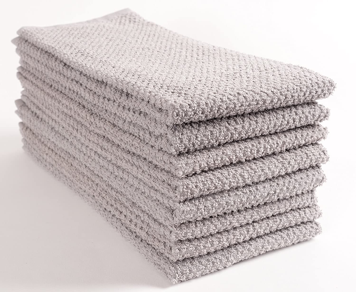 100/% Cotton Set of 8, 16x26 inches Grey Ultra Absorbent Terry Towels KAF Home Pantry Montclair Kitchen Towels
