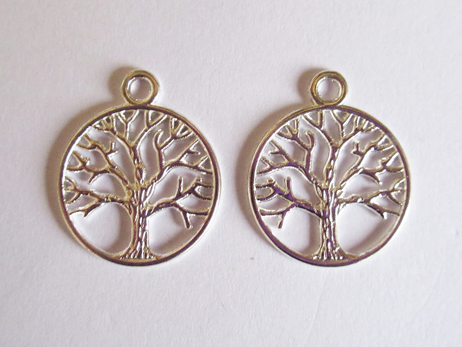 Julz Beads 10 Tree of Life Charms Pendants Antique Silver Tone 26mm x 23mm P00171H