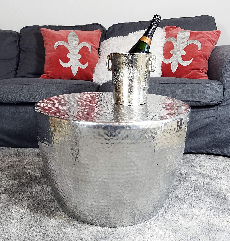 Michael Noll in Alluminio Tavolino da Salotto 58 cm Colore: Argento Stile Orientale