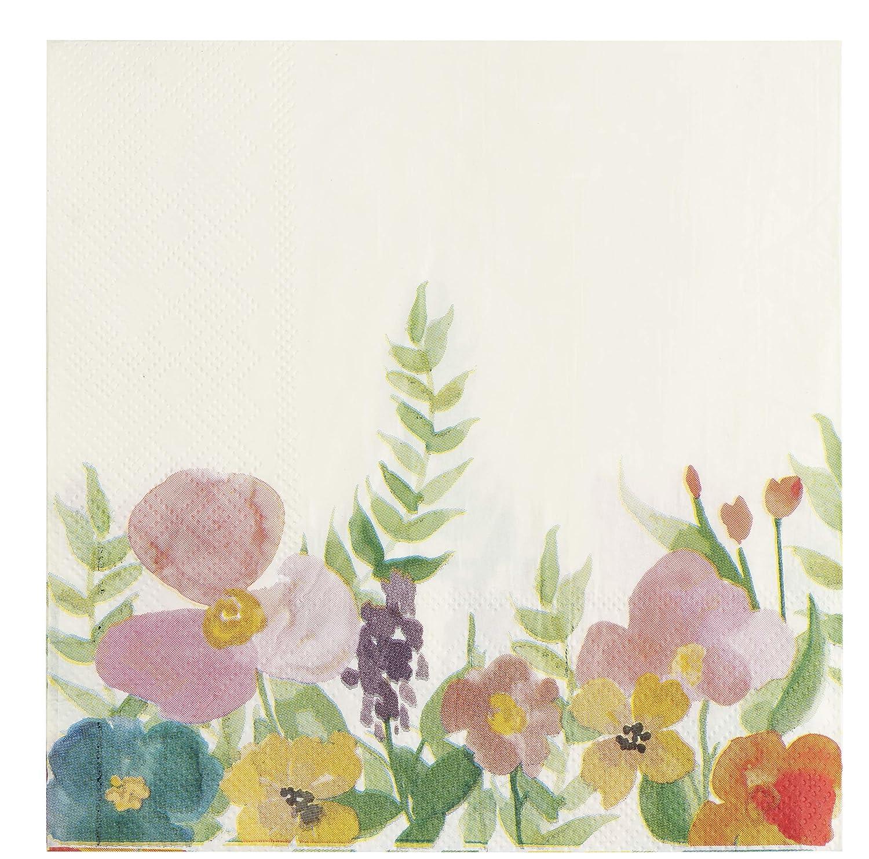 Floral Paper Napkins, Vintage Floral Party, Bridal Shower (6.5 Inches, 100 Pack)