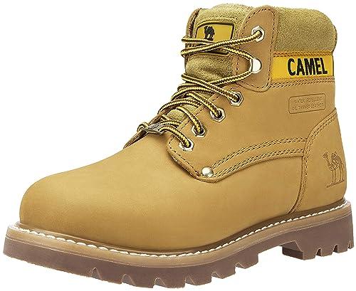 CAMEL CROWN Casual Botas de Cuero Botas Track de Tobillo Bajo Trabajando Botines Zapatos No-
