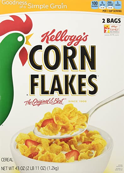 amazon com kellogg s corn flakes cereal 43 0 total ounce two bag