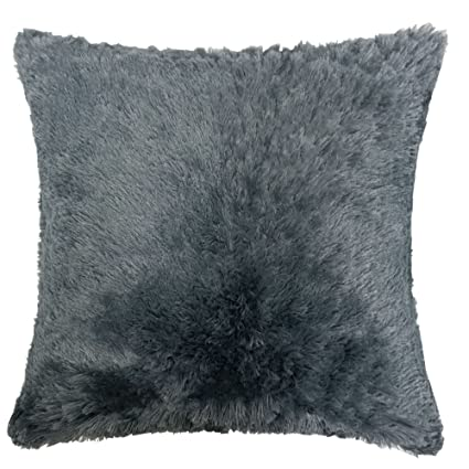 Amazon Homey Cozy Faux Fur And Flannel Decorative Pillow Super Fascinating Shaggy Decorative Pillows