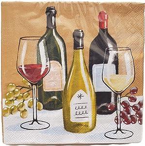 Vintage Wine Cocktail Napkins, 20 Elegant Retro Beverage Napkins - 5x5 Inch Square