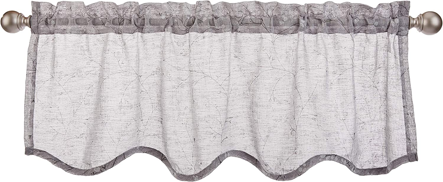 "LORRAINE HOME FASHIONS, Gray, Willow Window Curtain Scalloped Valance, 54"" x 18"""