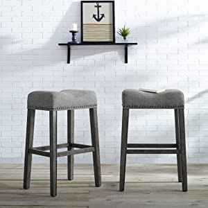 """Roundhill Furniture Coco Upholstered Backless Saddle Seat Bar Stools 29"""" Height Set of 2, Gray"""