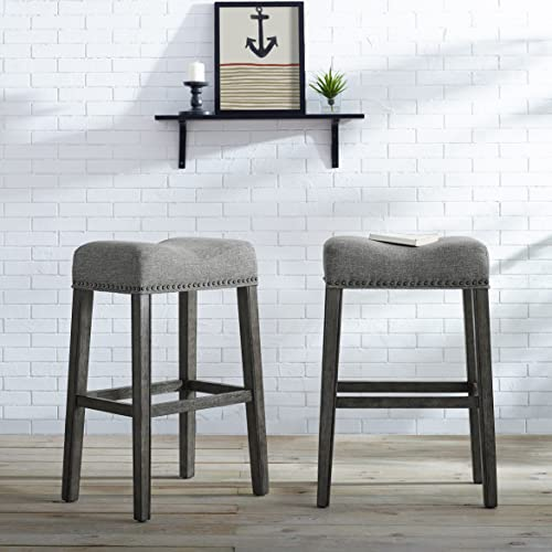 Roundhill Furniture Coco Upholstered Backless Saddle Seat Bar Stools 29″ Height Set of 2