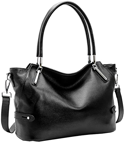ba75b1adbbf78 Amazon.com: Heshe Leather Handbags Womens Shoulder Bag Hobo Tote Bag  Designer Cross Body Bag (Black-KR008): Shoes