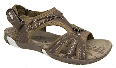 7df9ab765276 Image Unavailable. Image not available for. Colour  Ladies Northwest Brown  Grey Adventure Walking Velcro Sports Sandals ...