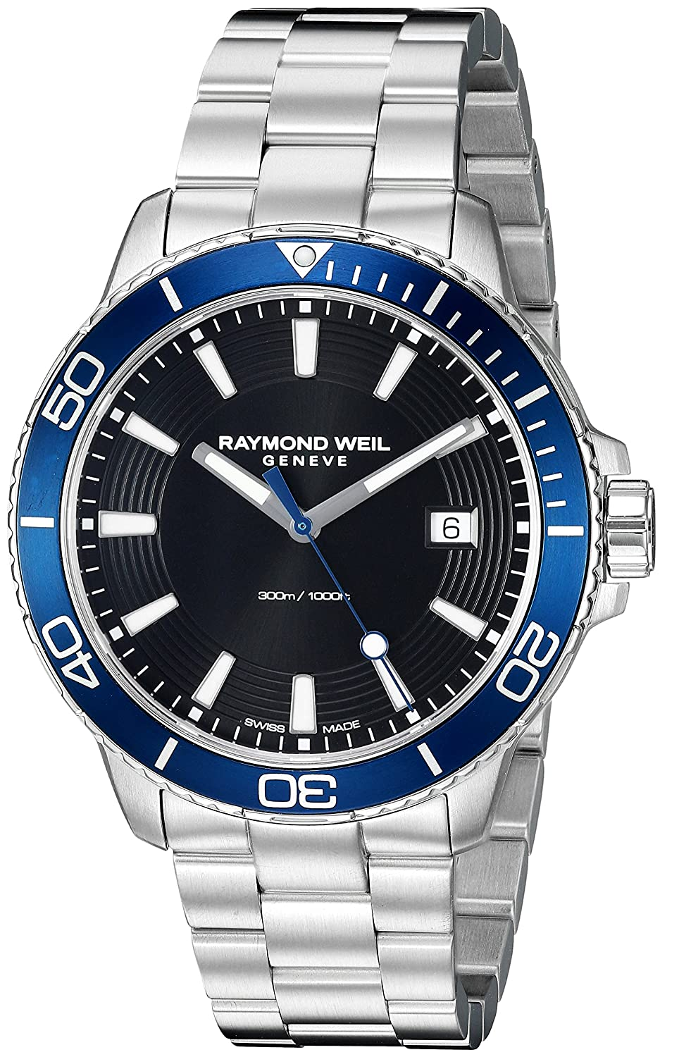 Raymond Weil Men s Tango 300 Quartz Stainless Steel Diving Watch, Color Silver Dial Color – black-Toned Model 8260-ST3-20001