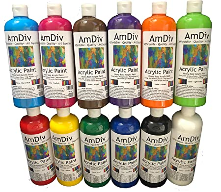1c18d01303 Amazon.com: AmDiv Acrylic Paint in Assorted Colors 16 oz Deluxe Multi Pack  (12 PK)