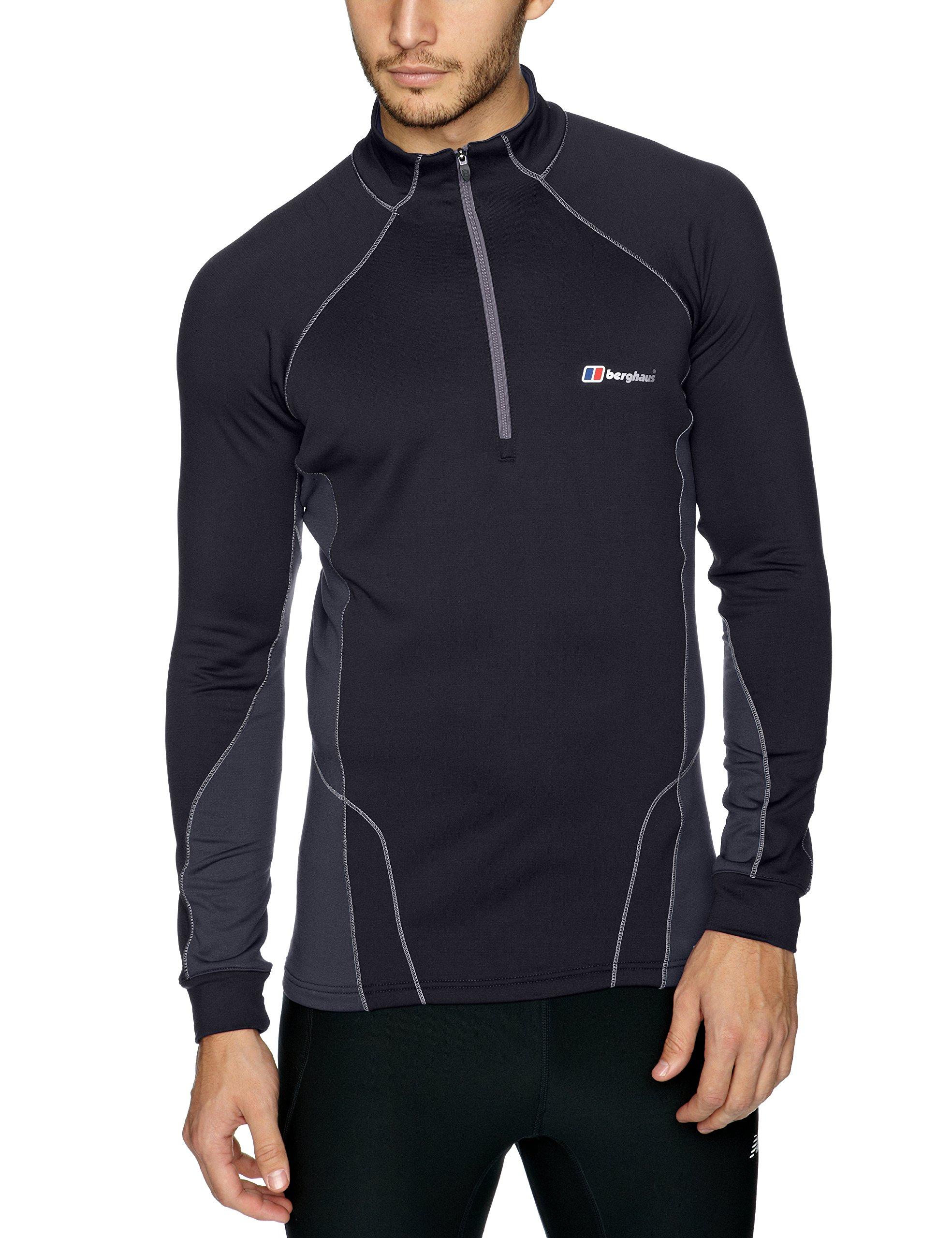 Berghaus men 39 s thermal zip neck t shirt black thunder for Mens black thermal t shirts